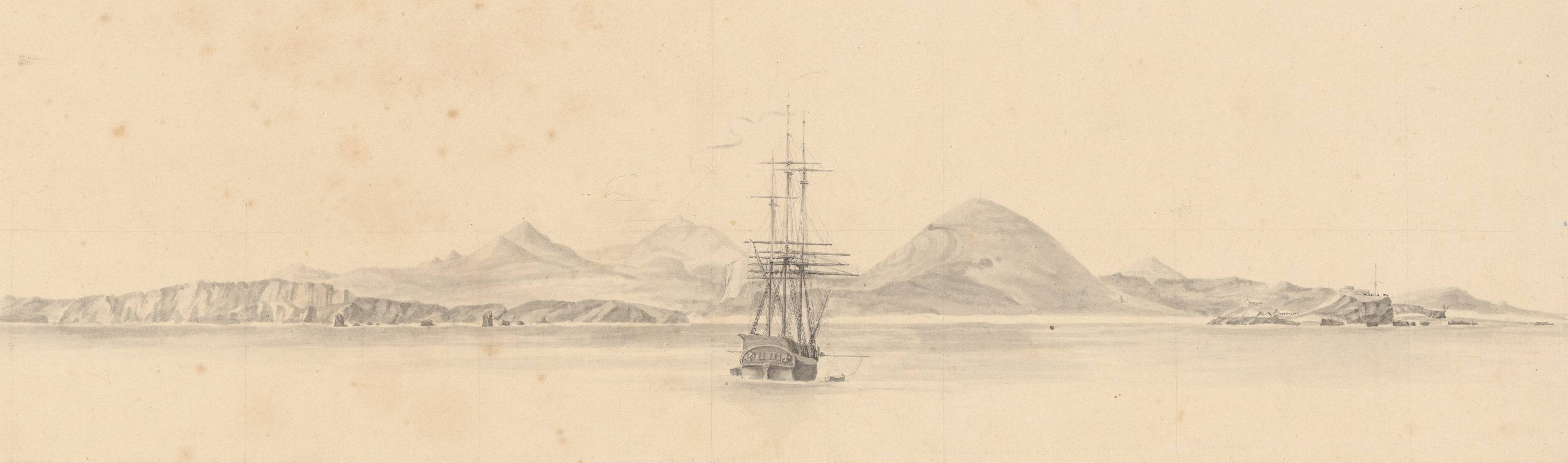 "La corvette ""La Coquille"" à l'approche de l'Ile de l'Ascension, dessin, Archives nationales, MAR/5JJ/83"